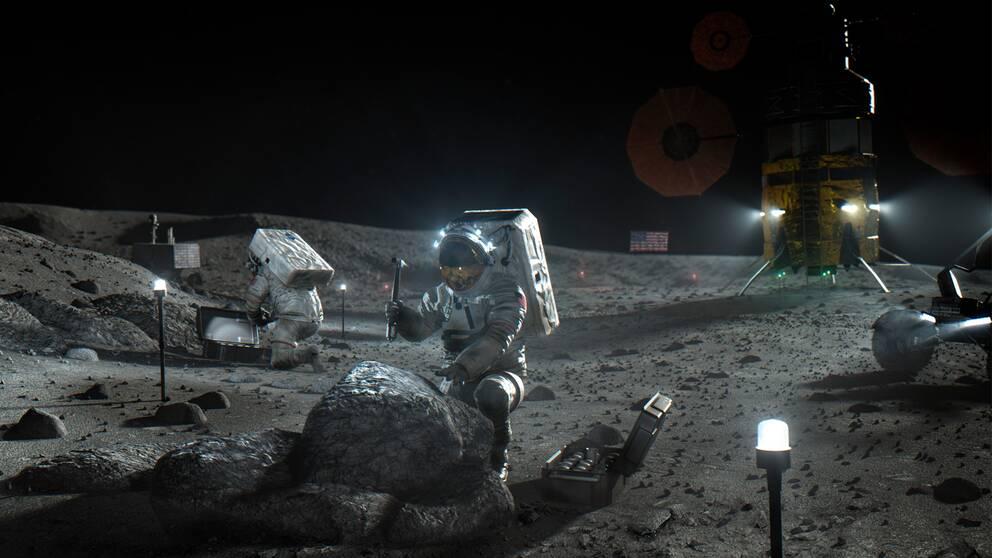 Nasas illustration till hur det ska se ut när de första astronauterna på ungefär 50 år har landat på månen.