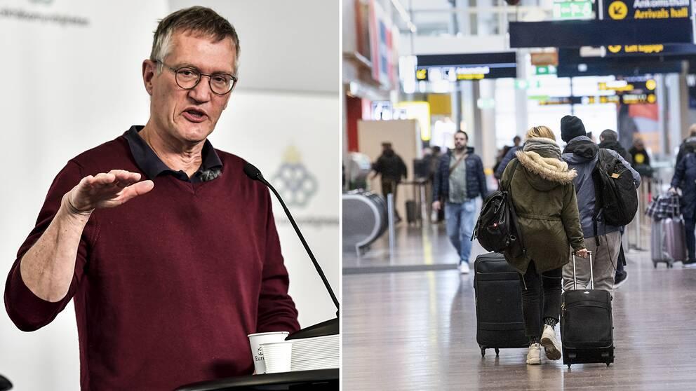 Statsepidemiolog Anders Tegnell och Arlanda flygplats.