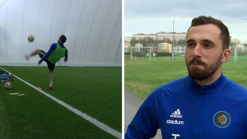 Tvådelad bild. I den ena sparkar en spelare på en fotboll, i den andra blir en spelare intervjuad.