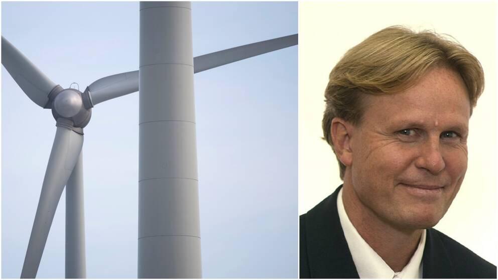 Vindkraft och porträttbild på en man.