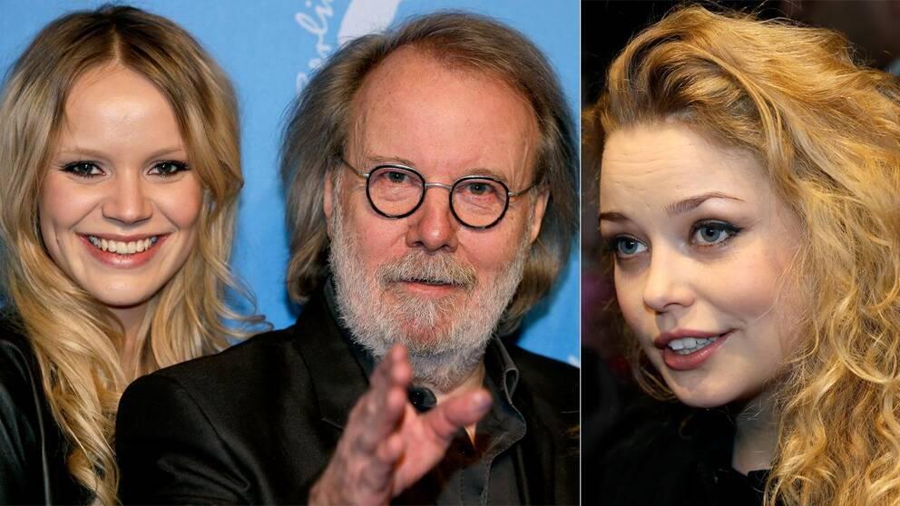 Till vänster skådespelaren Leona Axelsen bredvid Benny Andersson som skrivit musik till filmen, till höger skådespelaren Hanna Asp.