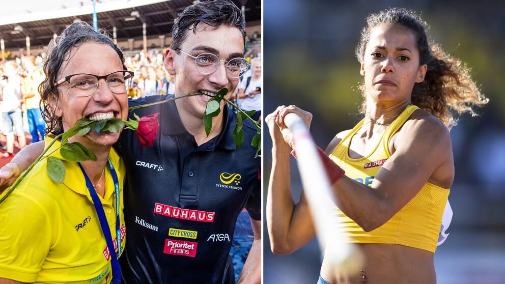 Förbundskapten Karin Torneklint, Armand Duplantis och Angelica Bengtsson.