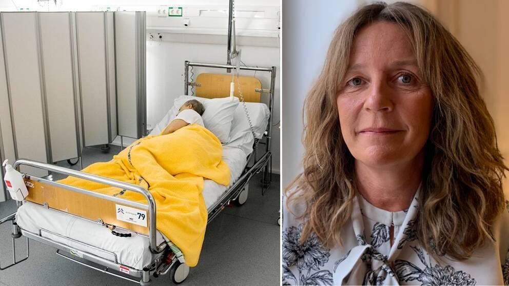 Till vänster genrebild på person i sjuksäng. Till höger porträttbild på Maria Olsson som är registerhållare och ansvarig för det Svenska palliativregistret.