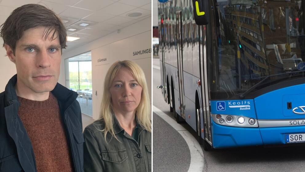 Rebecca och Simon bredvid buss från Västtrafik.