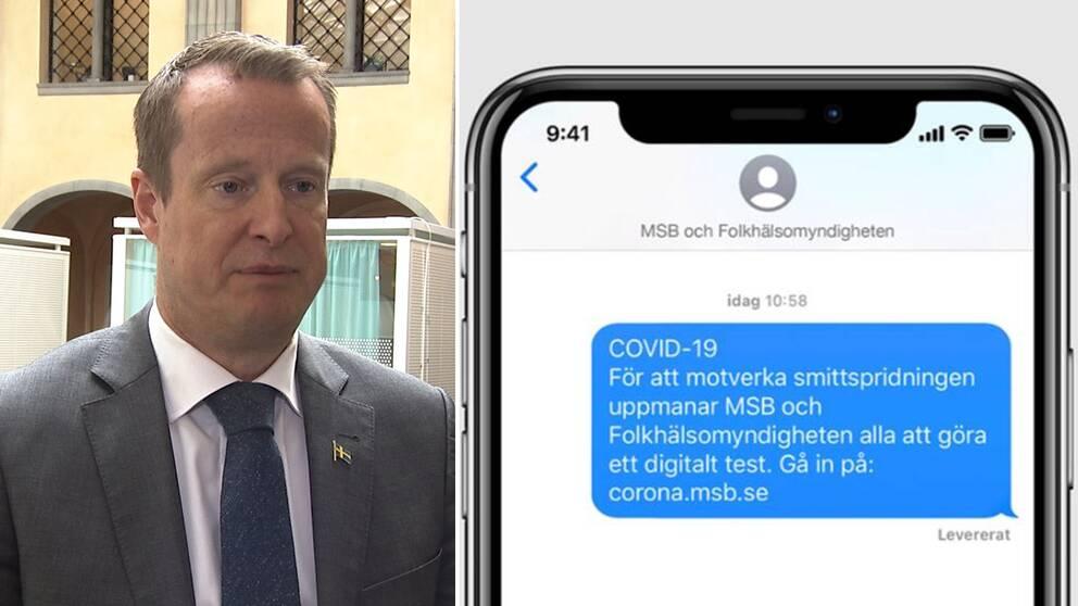 MSB har inte gett upp hoppet om den app-satsning som fått hård kritik och nyligen pausades. Och avtalet med it-leverantören löper på. Montage med Anders Ygeman och ett sms från MSB där de uppmanar folk att göra ett digitalt test.