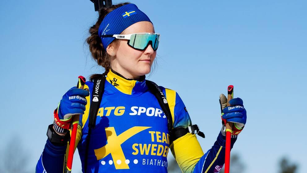 Stina Nilsson kan göra internationell debut på IBU-cupen i Idre.
