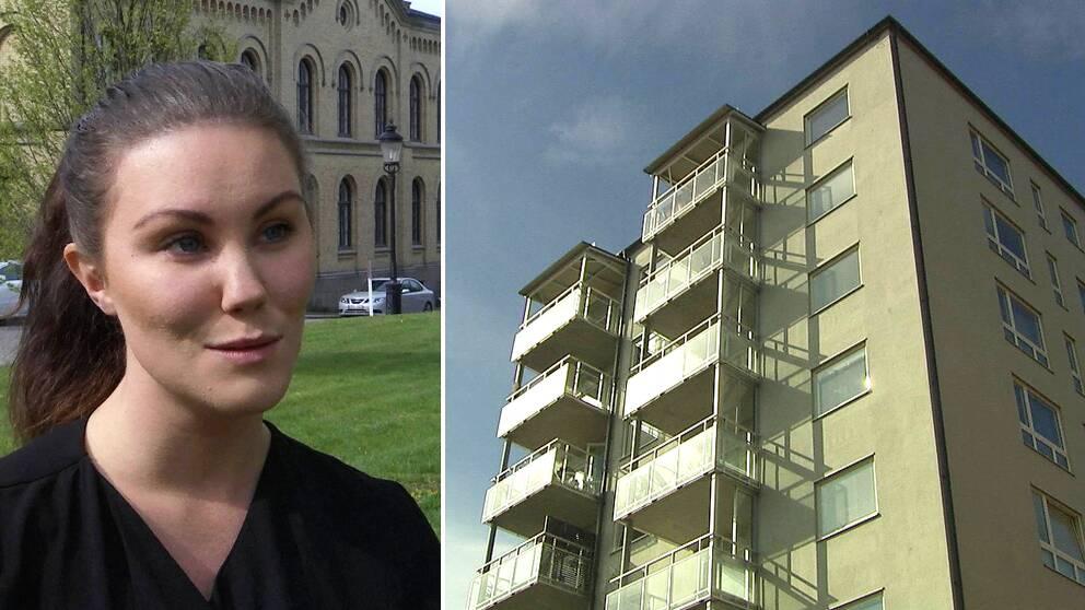 Två bilder. Isabell Persson till vänster. Ett hus med lägenheter till vänster.