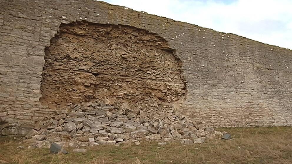 Visby Ringmur där delar har rasat