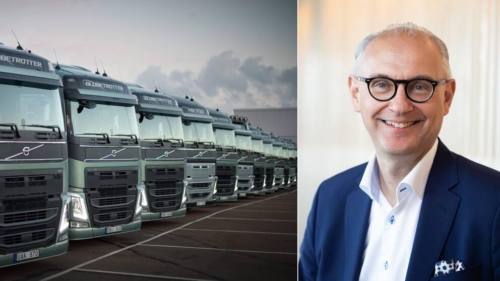 Volvolastbilar på rad samt Ramsay Brufer, ägaransvarig på Alecta