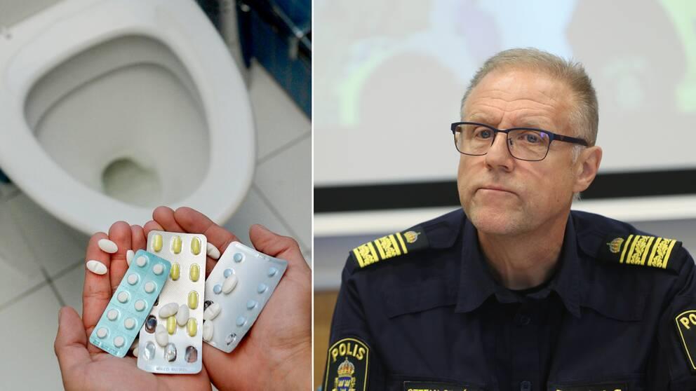 Tabletter/knark och WC-stol samt Stefan Sintéus.