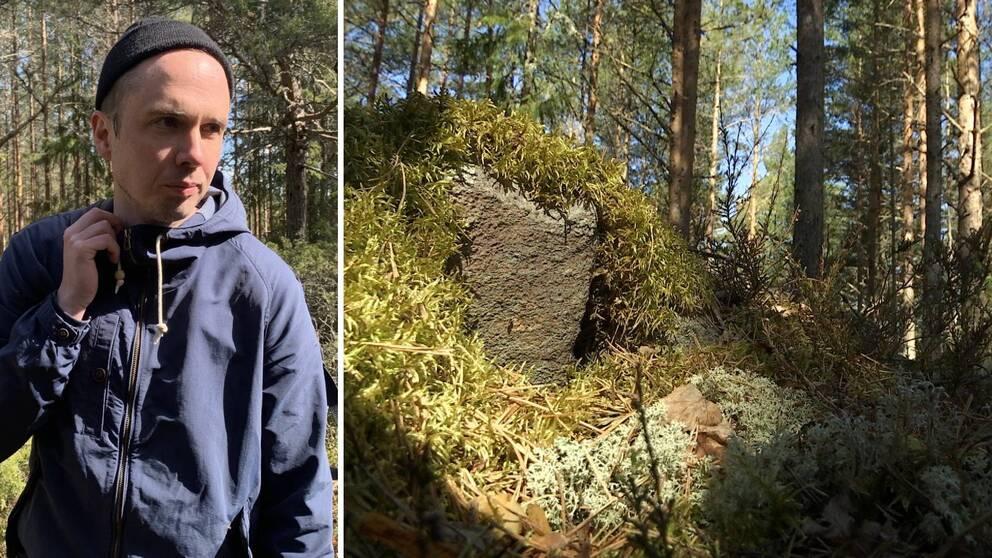Två bilder. Johan Richardson till vänster. Till höger syns en bit av stenmuren och mossa samt träd.
