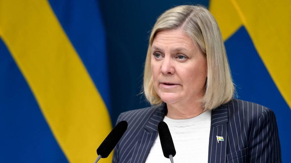 Finansminister Magdalena Andersson (S) håller pressträff.