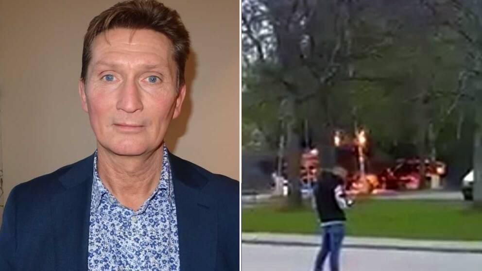 Ett montage: till vänster Tex Kihlström, som är chef för Svealandstrafiken. Till höger en bild på en buss som brinner och en människa som står i förgrunden.