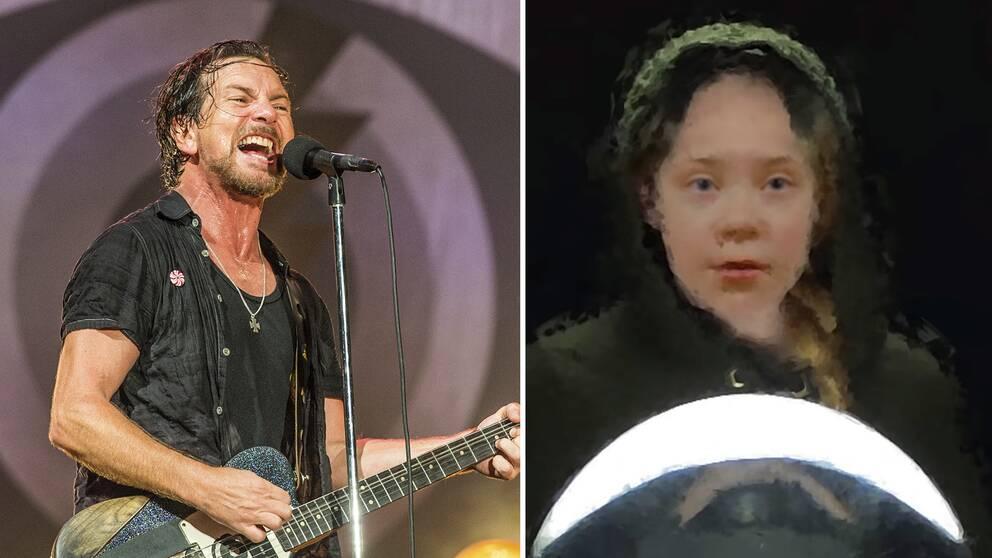 Bild på Eddie Vedder från Pearl Jam spelar och bild på en animerad och lite suddig Greta Thunberg.