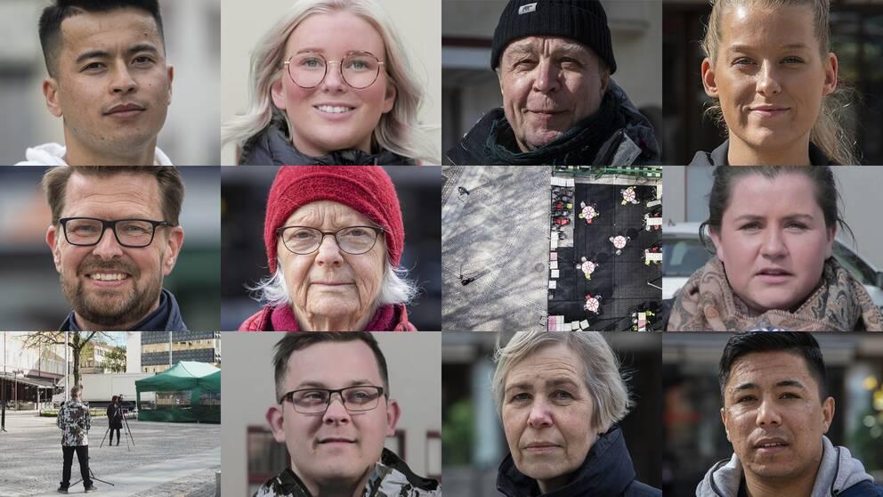 delad bild med tio små porträttbilder och två vybilder från Sveatorget i Borlänge