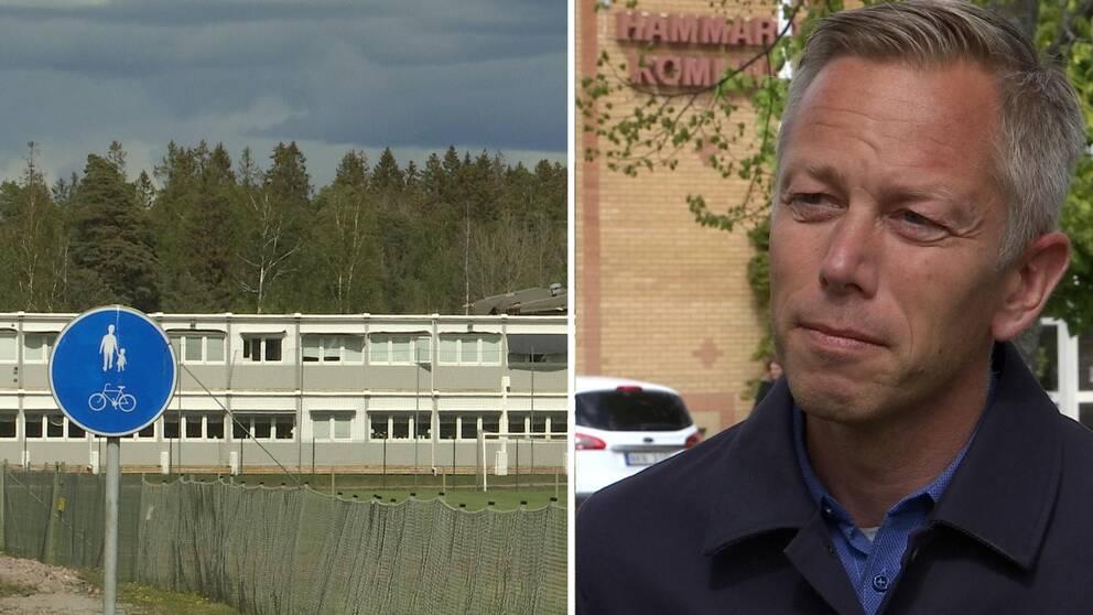 Tvådelad bild. På ena sidan syns en exteriör på Märmoskolan, andra sidan en porträttbild på Björn Svantesson, förvaltningschef på bildningsförvaltningen på Hammarö.