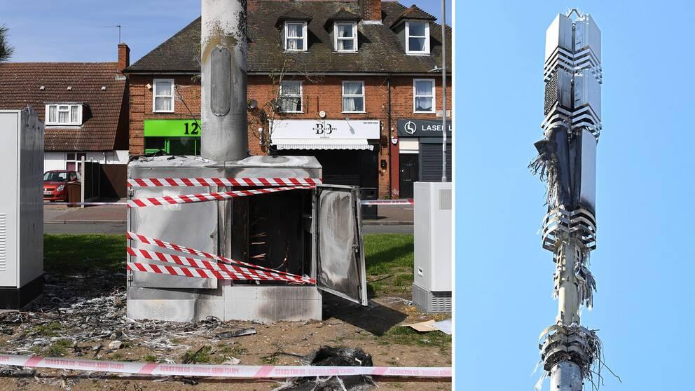 Två av alla de mobilmaster som satts i brand i Storbritannien under våren.
