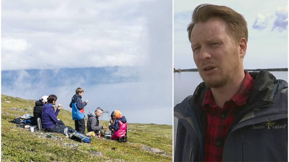 Familj fikar på fjäll, och Andreas Lind från Swedish Lapland Visitors Board.
