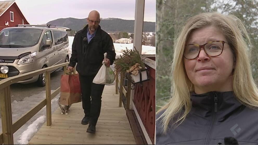 Dubbelbild. Till vänster en taxichaufför som bär matkassar uppför en ramp till ett bostadshus. Till höger en blond långhårig kvinna med glasögon
