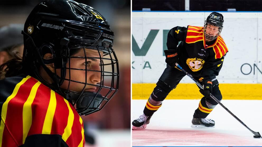 Kanadensaren Michela Cava och svenske landslagsbacken Johanna Olofsson.