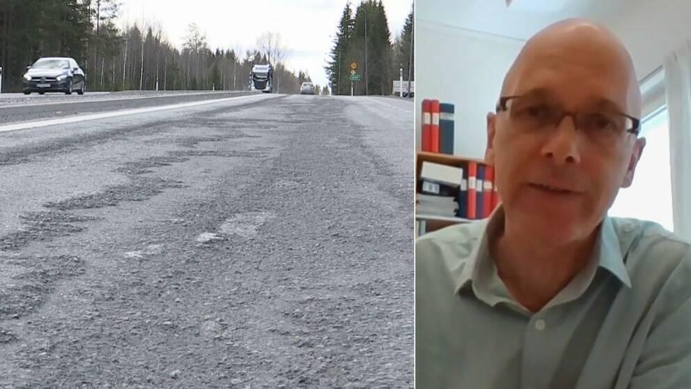 Dubbelbild. Till vänster väg med stora skador i asfalten. Till höger skallig man med glasögon.