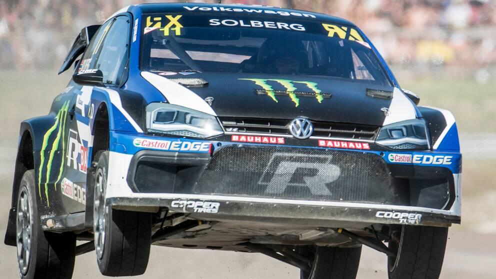 Petter Solberg, NOR, under rallycross-VM, deltävling 6 av 12, på Höljes motorstadion.