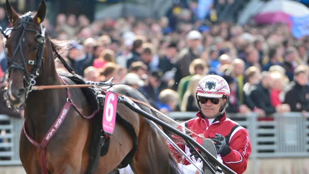 Hästen Mosaique Face och kusken Lutfi Kolgjini inför Elitloppet på söndagen