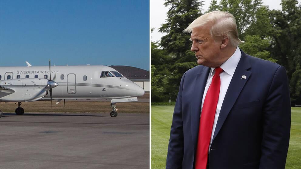 Det före detta regeringsflygplan (Saab 340) utrustad med specialkamera som Försvarsmakten använder för att fotografera militär och civil infrastruktur, enligt avtalet Open Skies och USA:s president Donald Trump.