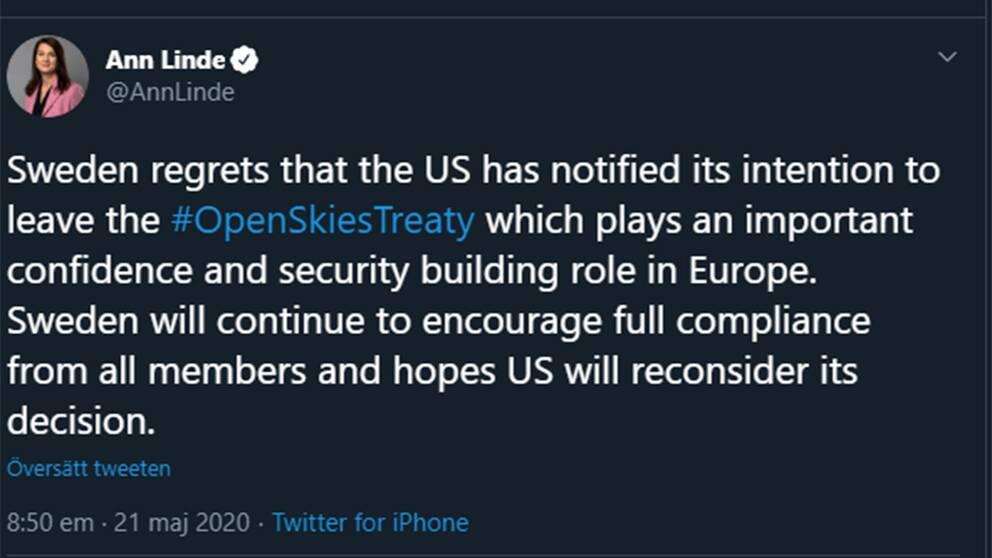 Utrikesminister Ann Lindes (S) uttalande om USA:s besked på Twitter.
