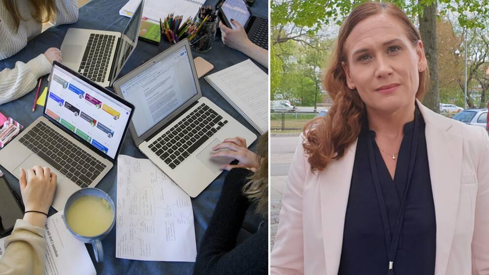 Verksamhetschefen på vuxenutbildningen Mölndals stad Sofia Grebner berättar om de stora problemen de möter med distansundervisningen.