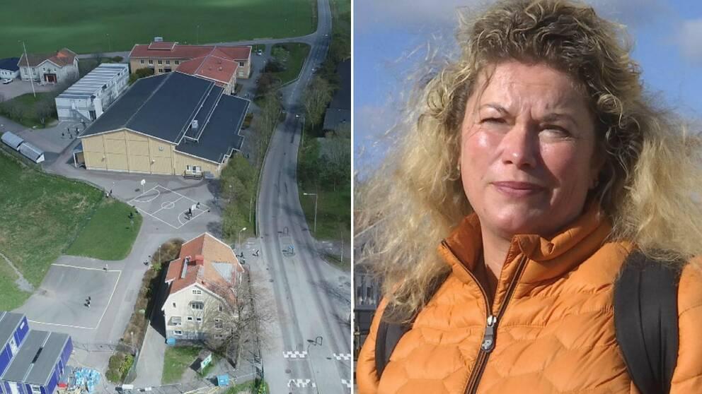 Therése Kanerva, förälder och lärare på Bergums skola i Olofstorp, är orolig över att trafiken kan öka precis intill skolan.