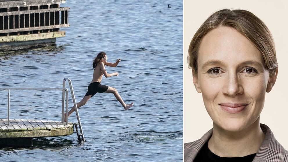 Till vänster en person som badar, till höger Danmarks miljöminister Lea Wermelin.