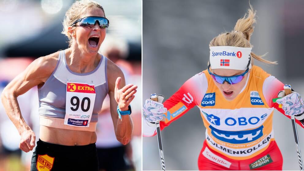 Therese Johaug är bra både på skidor och 10000 meter.