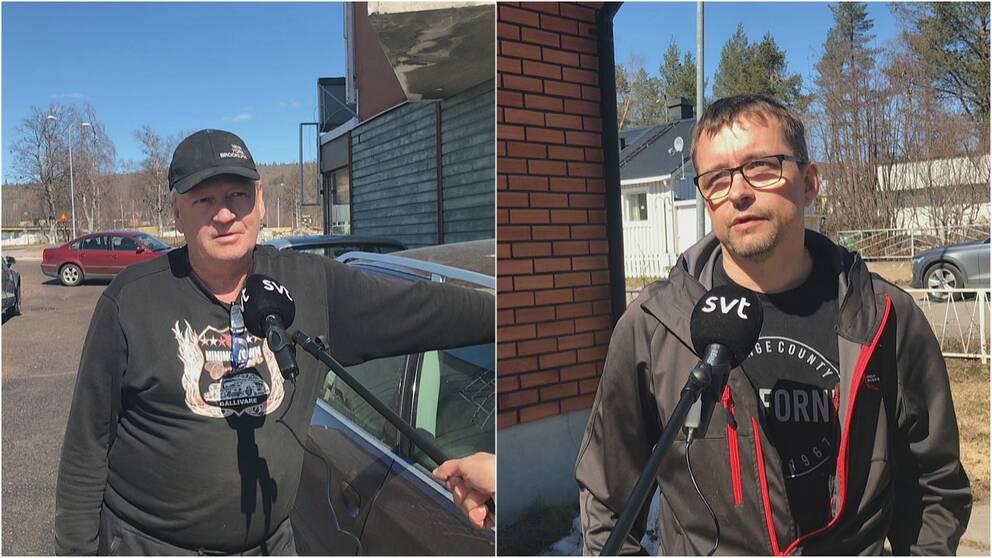 Två män i Malmberget framför en SVT-mikrofon.