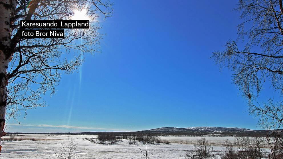 Karesuando Lappland 25 maj kl. 9.00. Vi hade +12 grader då. Midnattssolen har även börjat synas dygnet runt här i två månader framåt.
