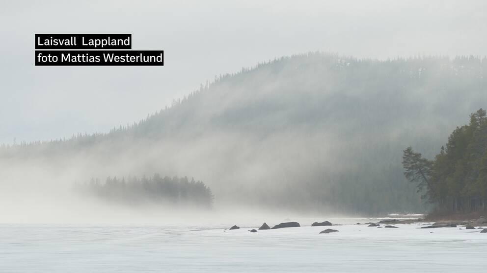 Dimman dansar in över den istäckta sjön och slår in mot skog och fjälltoppar i Laisvall Lappland +5 den 24 maj.