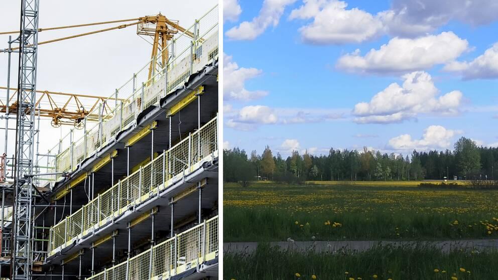 En bild på byggställningar och en bild på en äng i Sala där nya bostäder kommer att byggas.