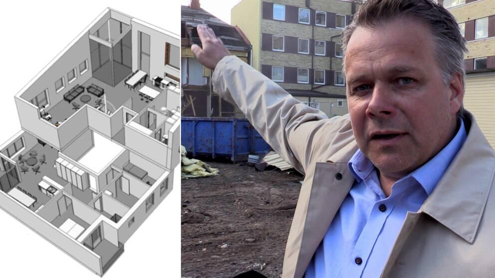 planskiss i 3, samt en man som pekar mot bygge