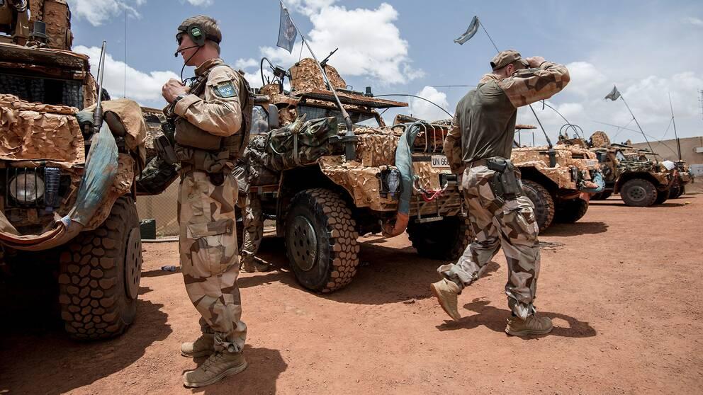 Den svenska Malistyrkan på Camp Nobel i Mali. Arkivbild.