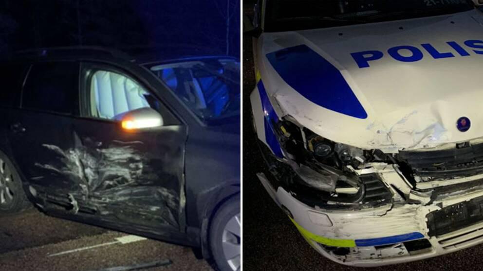 De två skadade bilarna. Den åtalades fordon till vänster samt polisbilen till höger.
