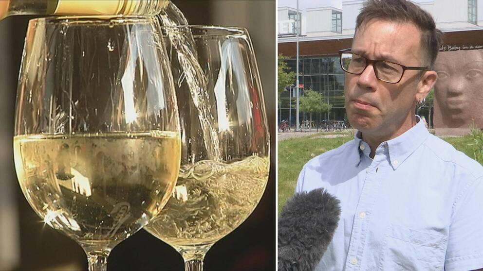Två bilder. Till vänster två vinglas med vitt vin varav det ena fylls på från en flaska. Till höger Eric Wästlund.