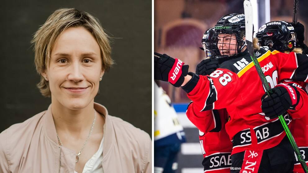 Vänster: SVT-experten Maria Rooth. Höger: Luleås Ronja Savolainen och Petra Nieminen jublar.