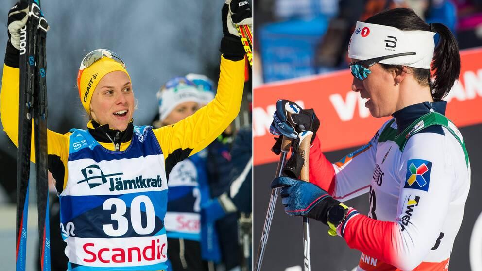 Lina Korsgren och Marit Björgen.