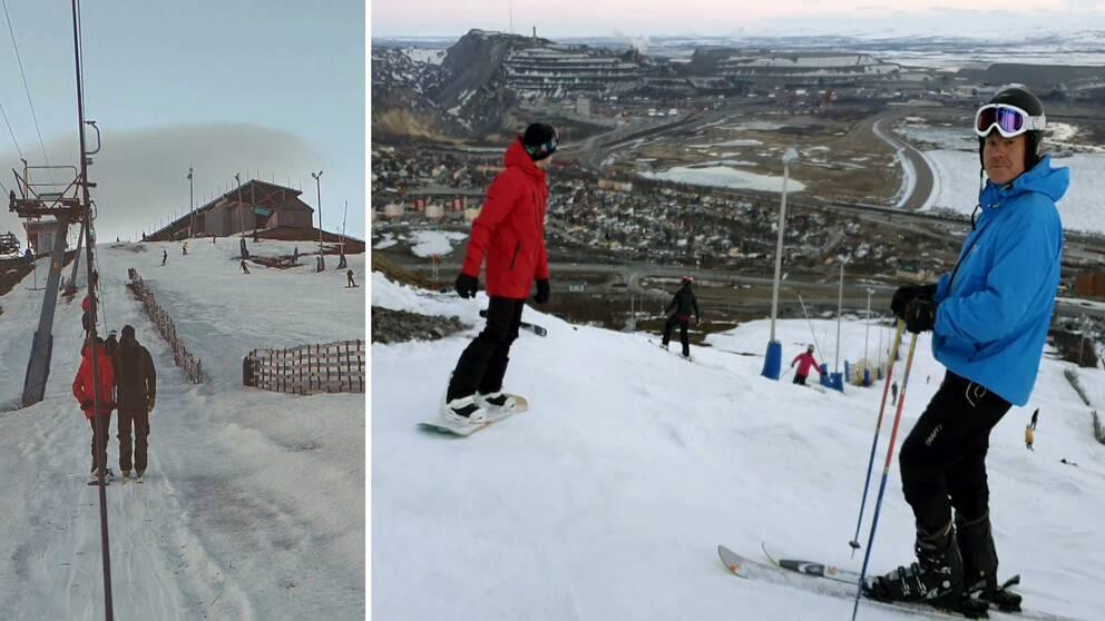 skidåkare och slalomåkare i liften samt i pisten i Luossabacken, utsikt över Kiruna.