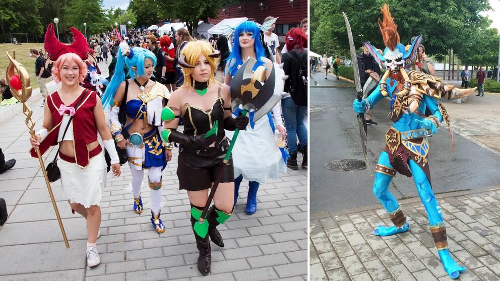Personer utklädda i olika spexiga kostymer.