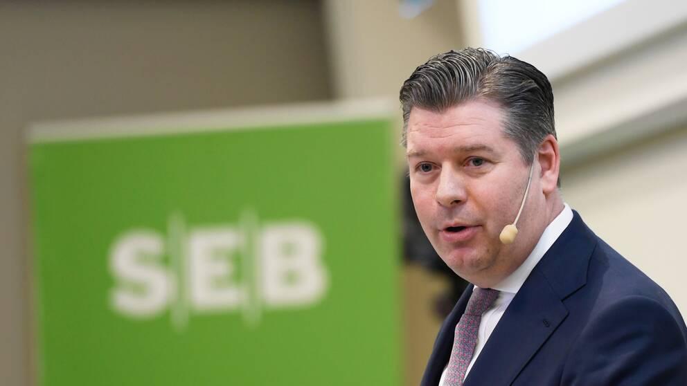 SEB:s vd Johan Torgeby när han presenterar företagets bokslut under en pressträff på huvudkontoret i Stockholm i januari.