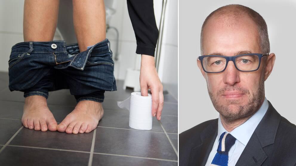 Till vänster en bild på benen och fötterna av en person som sitter på toaletten och sträcker sig efter toalettpappret. Till höger professor Magnus Simrén.