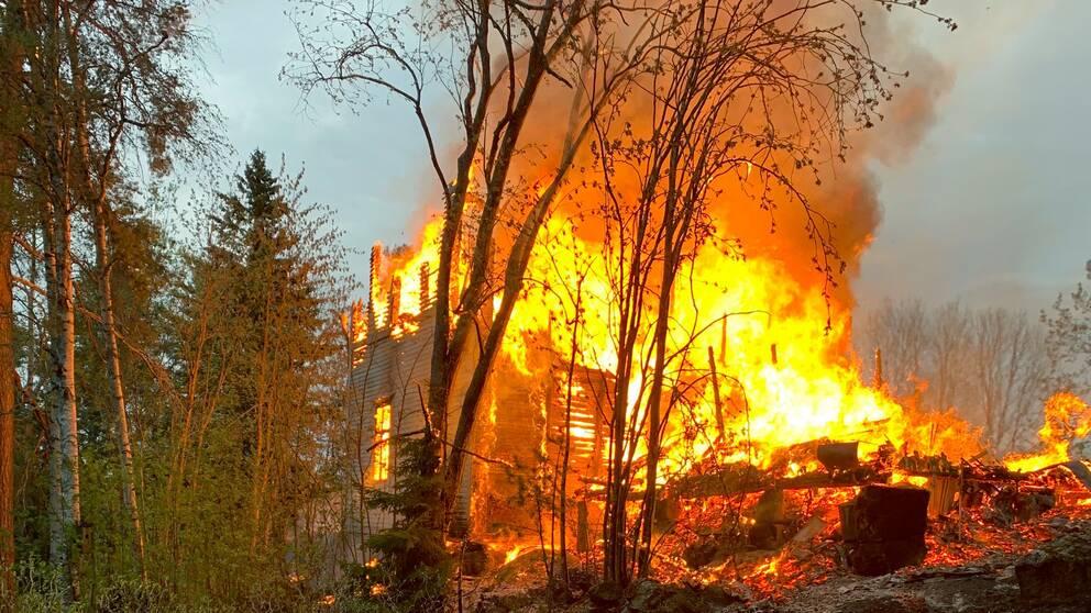 trähus brinner för fullt, nedbrunnet till hälften, i skogen