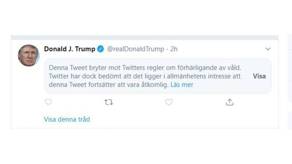 Twitter valde under fredagen att blockera ett av president Donald Trumps inlägg om protesterna i Minneapolis.
