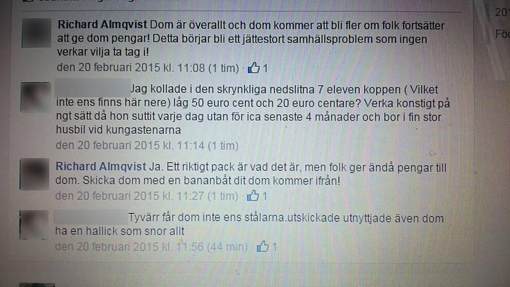 Skärmdump från Socialdemokratiske politikerns Facebookkonto.